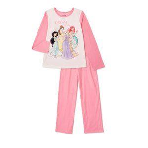 NEW Disney Princess Girls Soft Flannel Pajama Set
